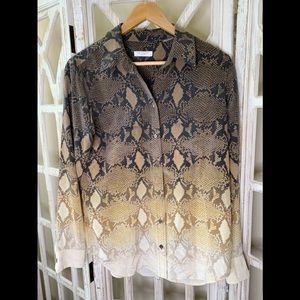 Equipment snake skin silk button down blouse